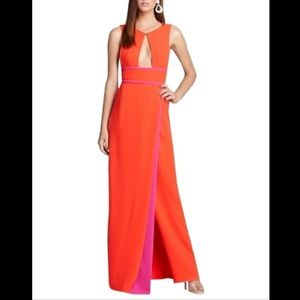 BCBG Maxazria Coral and pink gown.